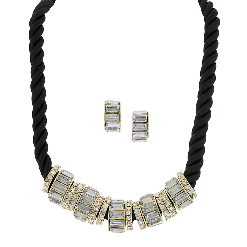 Silk Cord Necklace With Crystal Charms