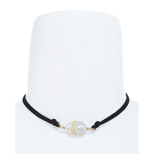 Fresh Water Large Pearl Choker Black