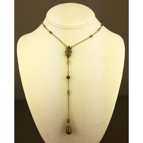 "Sorrelli's Long Green Tapestry ""Y"" Necklace"