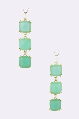Three Linked Mint Squares Earring