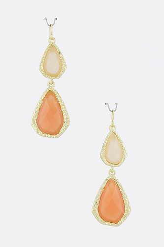 Peach Double Teardrop Acrylic Earring