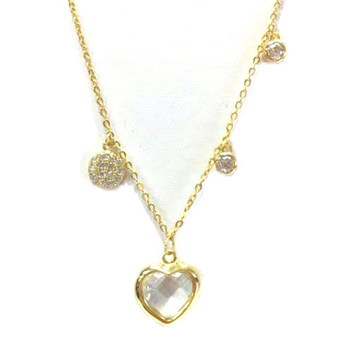 14K over Sterling Bezel Heart and Charms Necklace
