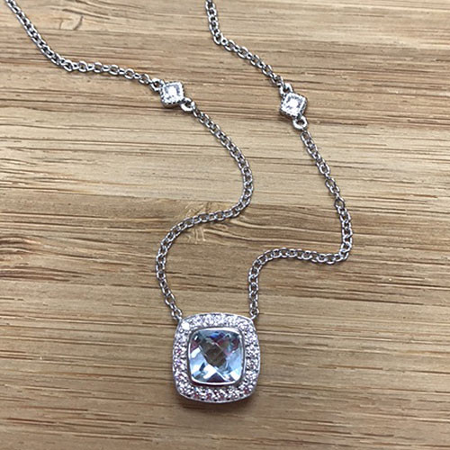 Lafonn's Square Sky Blue Topaz Halo Necklace