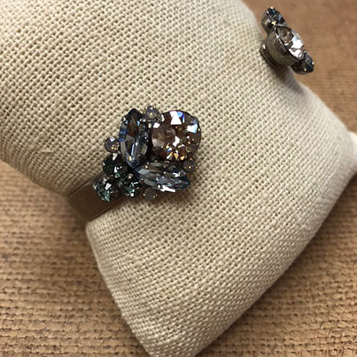 Sorrelli's Crystal Tipped Open Cuff in Blue Pebble