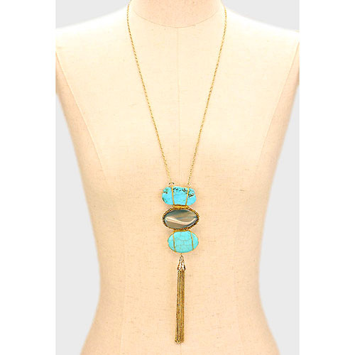 Long Triple Stone & Tassel Necklace Turquoise