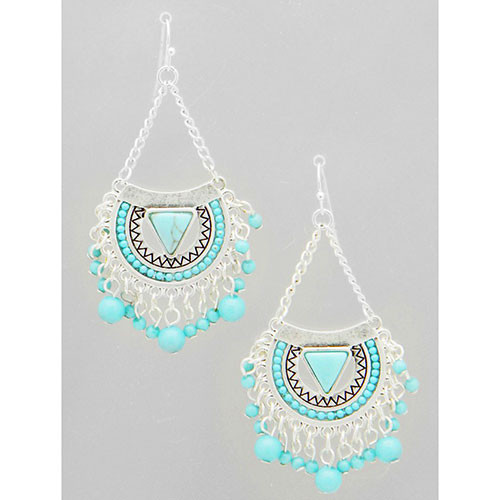 Silver Aztec Tribal Turquoise Dangle