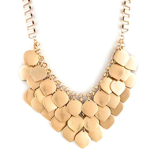 Multi-Layered Golden Leaf Cluster Necklace