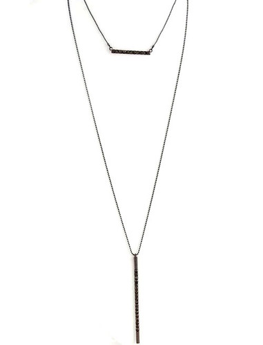 Straight and Narrow Crystal Double Bar Necklace