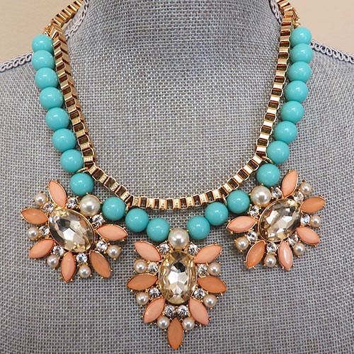 Blue and Peach Glam Baubles