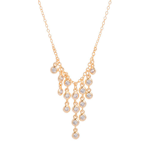 Gold CZ Waterfall Fringe Necklace