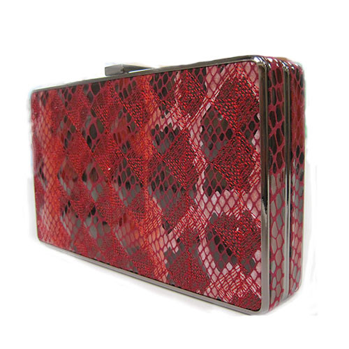 Sondra Roberts Red Python Box Clutch