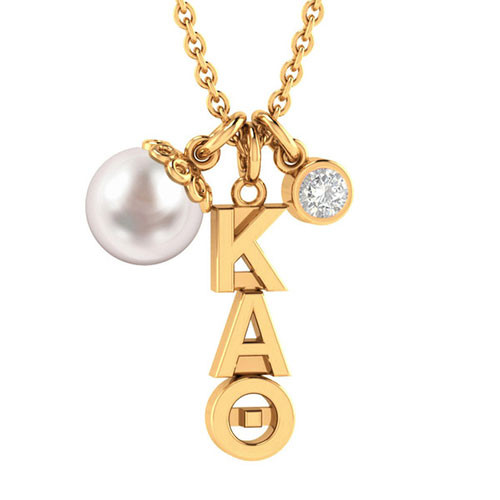 Kappa Alpha Theta Gold Triple Charm Necklace
