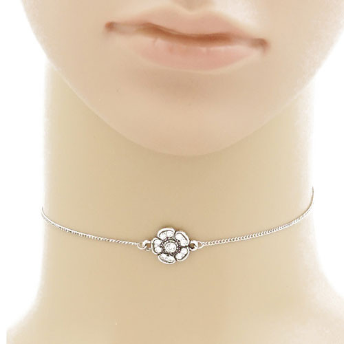 Antiqued Silver Boho Flower Choker