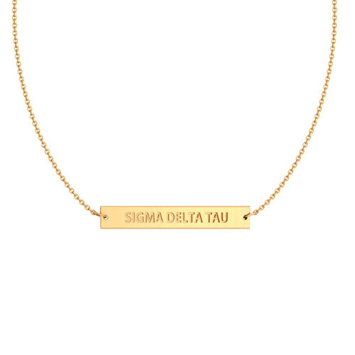 Sigma Delta Tau Gold Infinity Bar Necklace