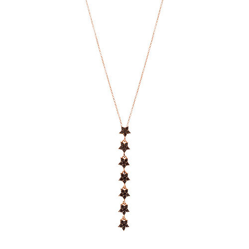 Strand of Jet Black Stars in Rose Gold