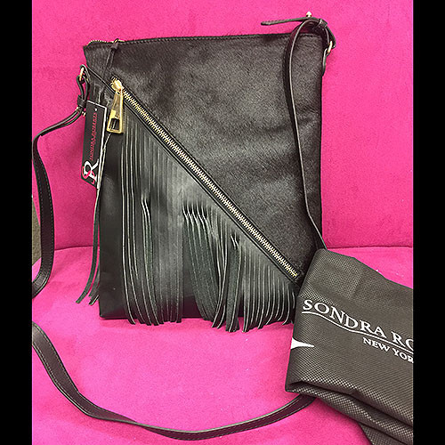 Sondra Roberts Diagonal Fringe & Zipper Cross Body with Calf Hair