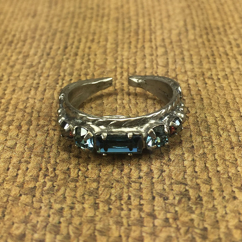 Sorrelli's Single Row Ring of Blue Brocade Crystals