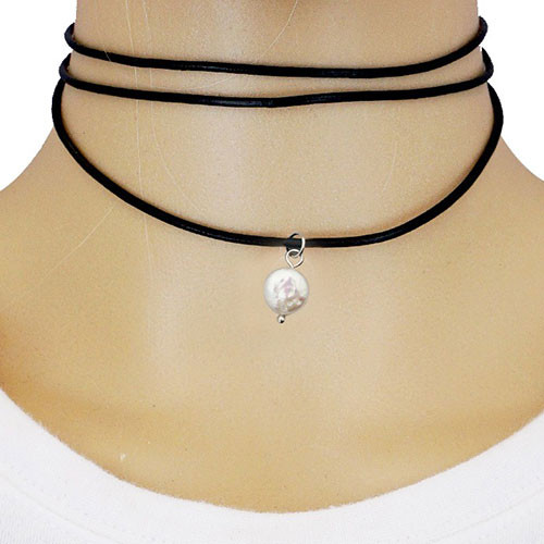 Leather Wrap Choker With Freshwater Pearl Dangle