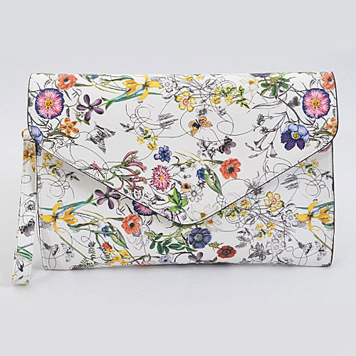 Large White Floral Envelope Clutch