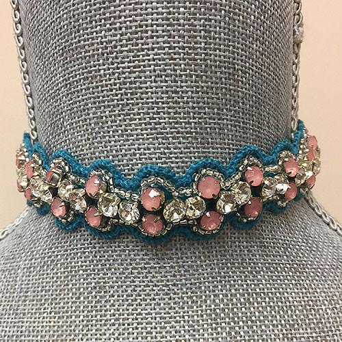Turquoise and Pink Crystal Choker