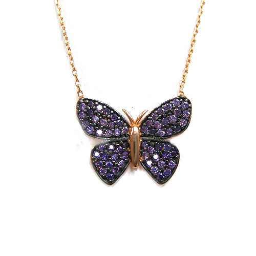 Tanzanite Crystal Butterfly Necklace