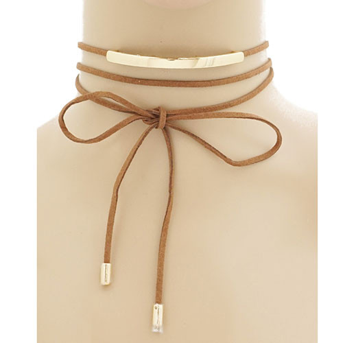 Brown Suede Wrap Choker with Gold Bar