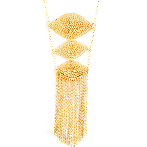 Long Perforated Triple Ladder and Fringe Necklace 1