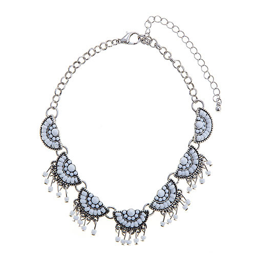 Ant.Silver & White Beaded Choker