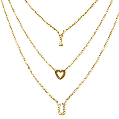 I  Heart You Triple Chain Necklace in Gold