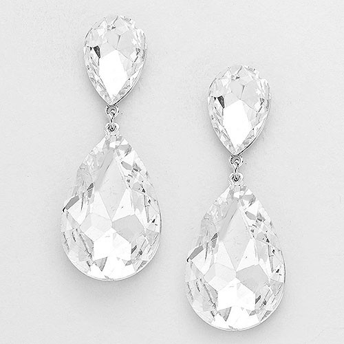 Clear Pear-Shaped Crystal Drop Earrings