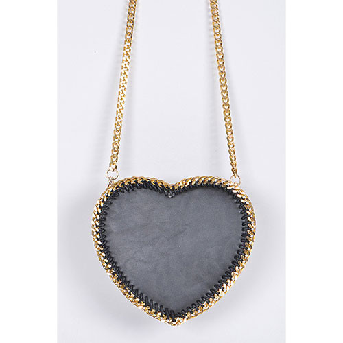 Large Black Heart & Chain Cross Body