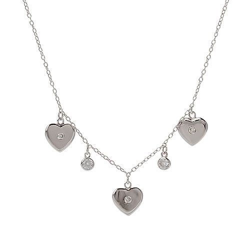 Triple Heart and CZ Station Necklace