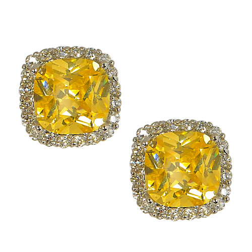 Canary Yellow Square Cubic Zirconia Posts