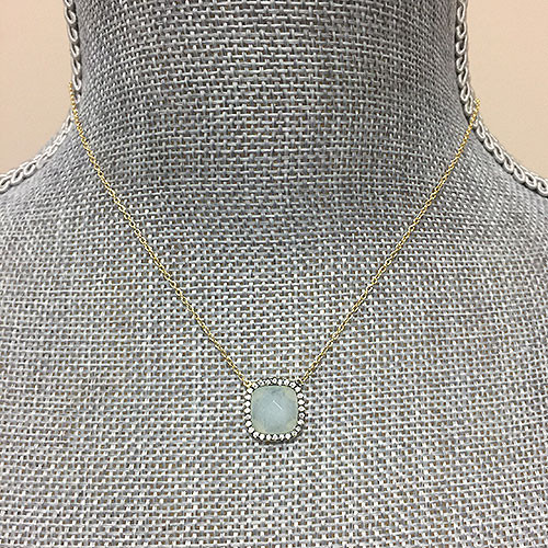 Aquamarine Square with CZ Necklace