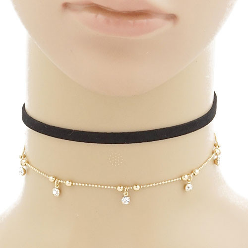 Black Suede with Dangling Cubic Zirconia Choker