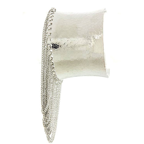 Beyonce Cuff With Fringe Silver