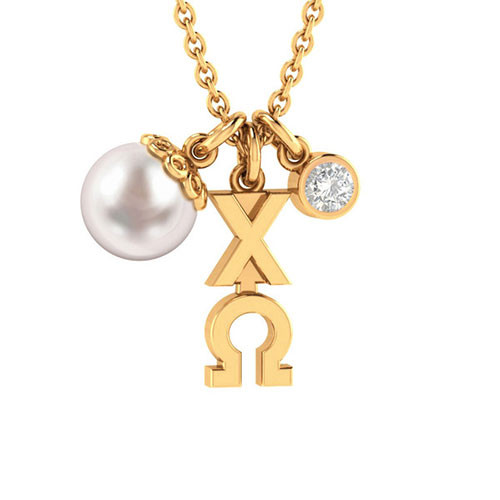 Chi Omega Gold Triple Charm Necklace