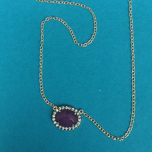 Mini Oval Amethyst Necklace