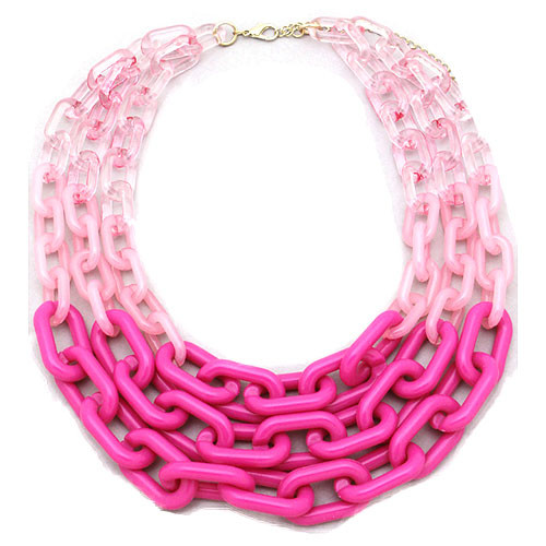 Ombre Resin Long Layered Links Necklace