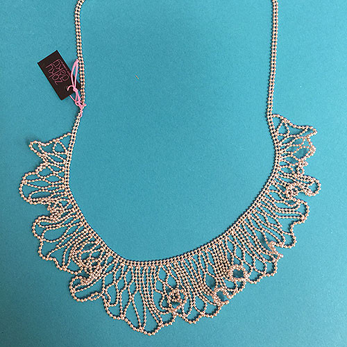 Silver Beaded Wave Necklace