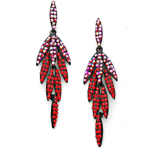 Light Siam Red Elongated Leaves Earrings