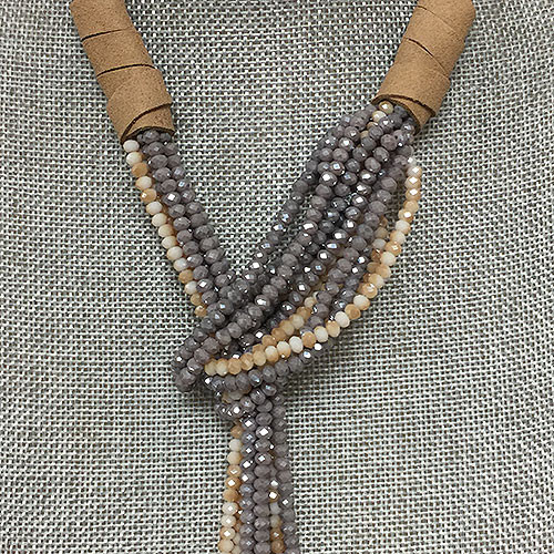 Sand & Gray Crystal Bead Lariat Necklace