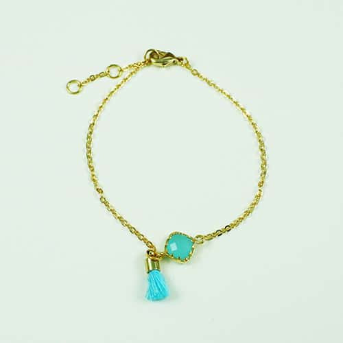 Powder Blue Stone with Tiny Tassel Bracelet