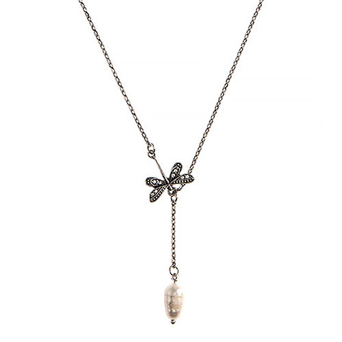 Dragonfly and Pearl Y-Necklace
