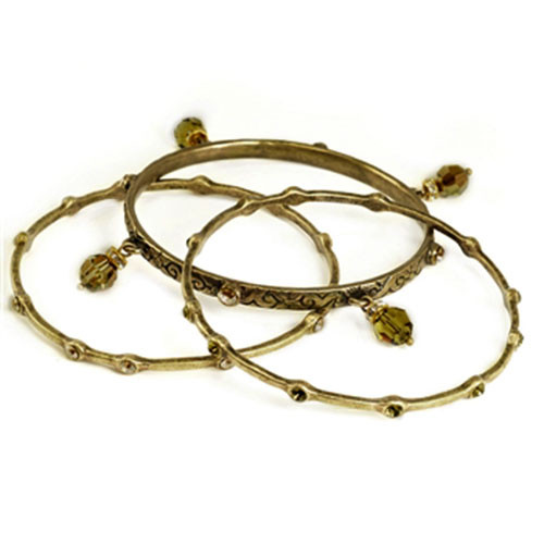 Set of Three Bronzed Bangles