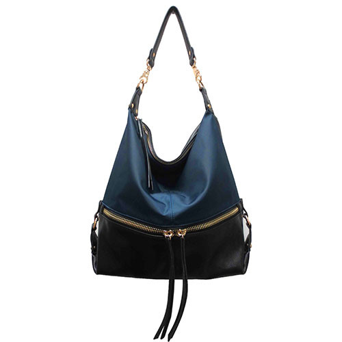 Sondra Roberts Nylon & Nappa Trim Hobo in Black and Navy
