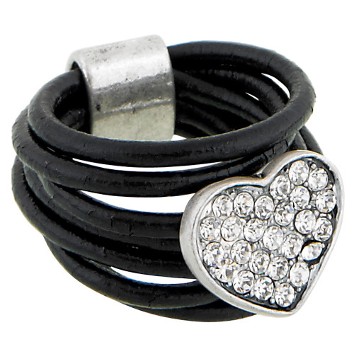 Pave Crystal Heart and Leather Ring