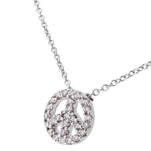 Micro Pave Peace Sign Necklace