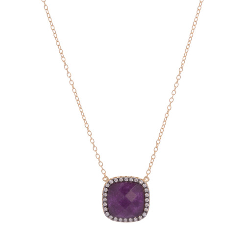 Amethyst Square with CZ Necklace