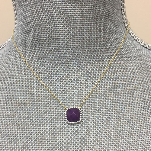 Amethyst Square with Cubic Zirconia Necklace